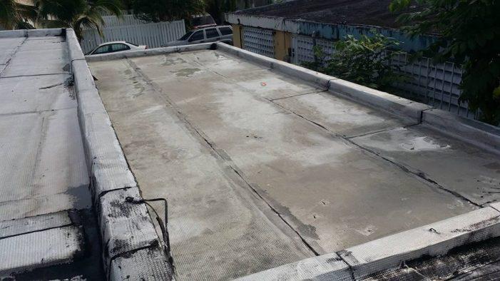 Techo con danosa en muy malas condiciones. Las filtraciones dentro de la casa son originadas por las soldaduras de los solapes en malas condiciones. Se lavo a presión para realizar la reparación.